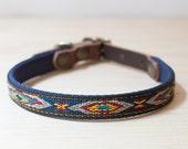 Thin Custom Leather Blue Yellow Dog Collar. Navajo Navy 1 2 quot