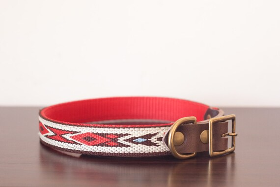 Custom Leather RedBrownWhite Dog Leash Navajo Red 34