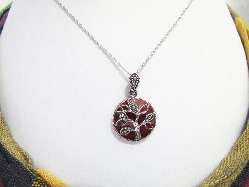 Family Tree French Enamel Sterling Silver Pendant Choker French Enamel Pendant Gift to Mum Marcasite Pendant Sterling Silver Pendant
