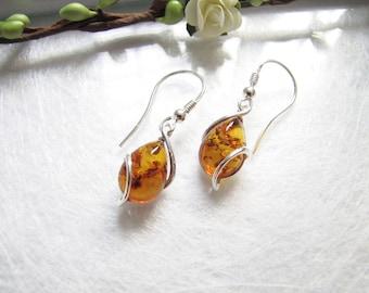 Post Modern Honey Baltic Amber Earrings, Natural Poland Amber Earrings, Eye Drop Amber Earrings, Light Brown Honey Amber Earrings