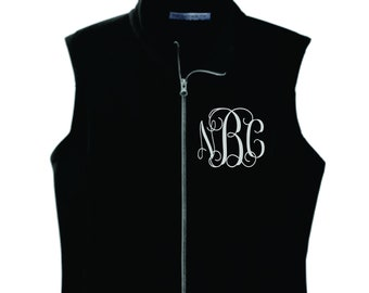 monogrammed vest/ monogrammed fleece vest/ monogram vest/ monogrammed outerwear/ personalized vest/ gifts for her under 30