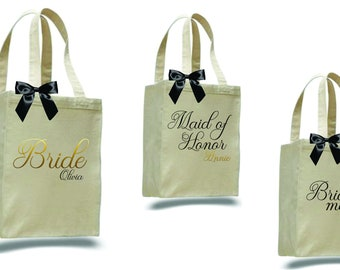 set of 7 bridesmaid totes/ bridesmaid gift/ personalized tote/ monogrammed tote/ bride tote