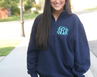 monogrammed quarter zip/ quarter zip/ monogrammed sweater/ monogrammed sweatshirt/ gifts for her/ Christmas gift/ under 30