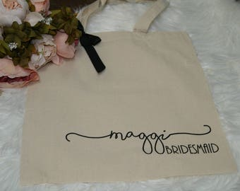 bridesmaid tote, personalized bridesmaid gift, bridesmaid gift, personalized tote, monogrammed tote, bridal party bags, bt01