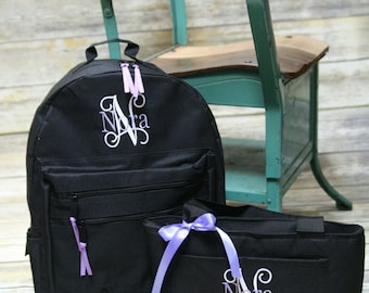 Monogrammed backpack, personalized backpack, monogrammed lunch box, monogrammed lunch tote,