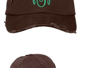 monogrammed cap, monogrammed hat, monogrammed baseball cap, distressed cap, personalized hat