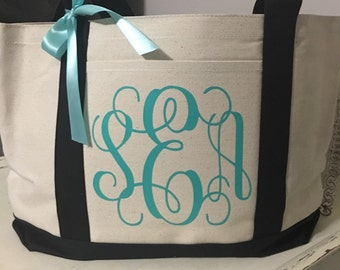 Monogrammed tote monogrammed bag personalized tote bridal totes bridesmaid gift, bridal party totes