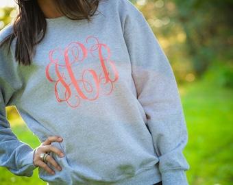 monogrammed sweater, monogrammed sweatshirt, monogrammed crew neck sweater,