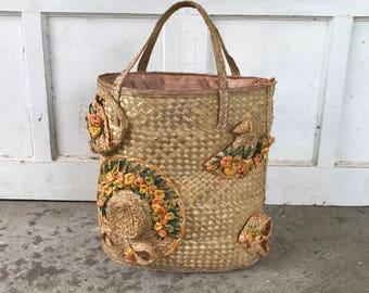 Vintage woven grass boho bag, purse, boho beach tote, large tote, summer tote, summer boho beach bag