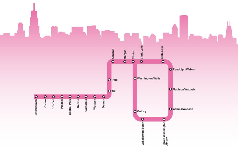 Pink Line Chicago Map Chicago Pink Line Map | Etsy