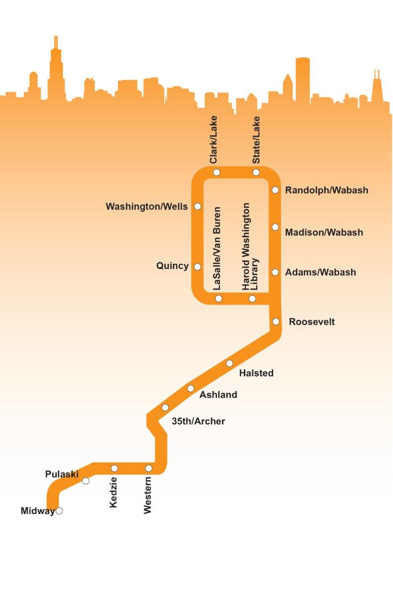 Orange Line Map Chicago Chicago Orange Line Map | Etsy