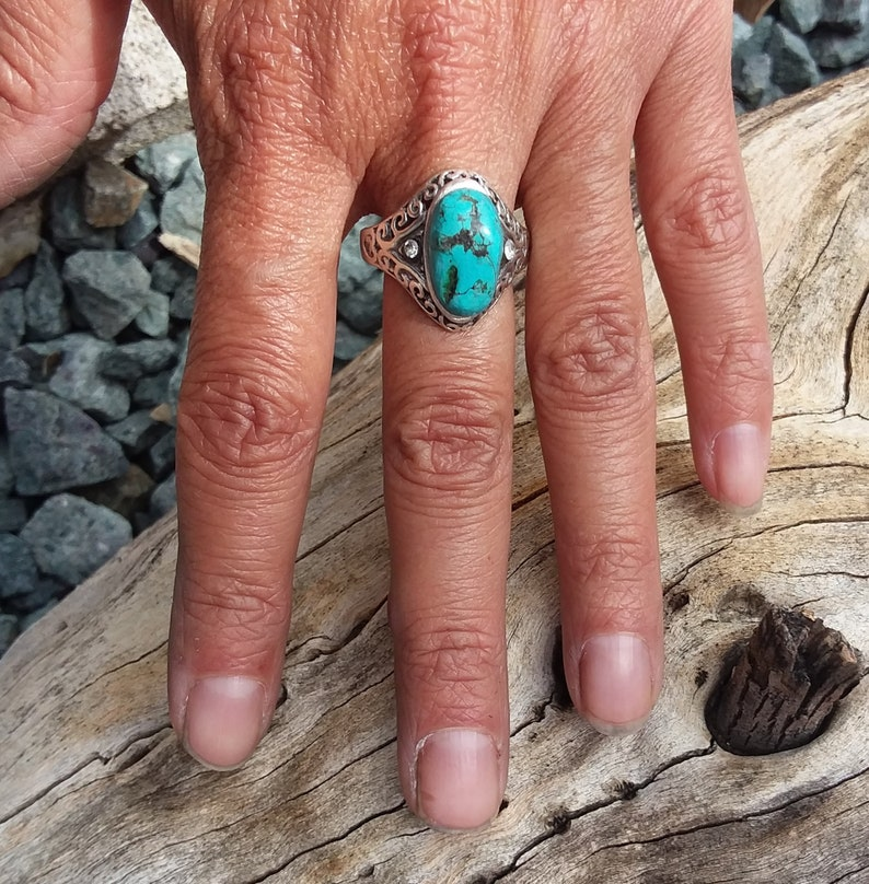 Turquoise ring size9.75~Sterling Silver Turquoise Accessories western Cowgirl Bohemian Wedding Ring  fashion Jewelry