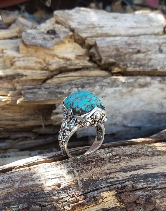 Turquoise Ring Size8 Sterling Silver Sale Native American Etsy