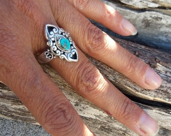 Turquoise Ring Size8.5 Sterling Silver Rings Native American Jewelry-Navajo Accessories