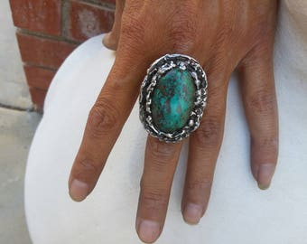 Chrysocolla size 7~Turquoise Rings~Native American Jewelry~Statement Jewelry
