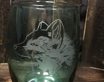 Artic Fox stemless wine glass- Artic fox, fox, polar fox, white fox, snow fox, wine glass, stemless, colored glassware, artic animal, gifts