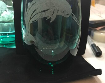 Narwhal stemless wine glass, wine glasses, horned mammal, unicorn of the sea,unique design, glassware, for her, for him