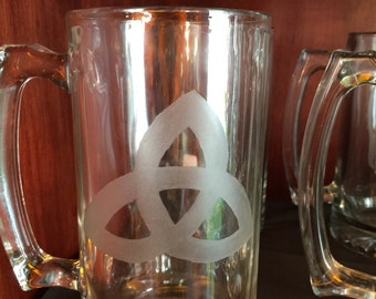 Celtic triquetra hand etched beer stein - trinity, triquetra, beer stein, beer mug, engraved, holidays, gifts, Celtic, mug, stein
