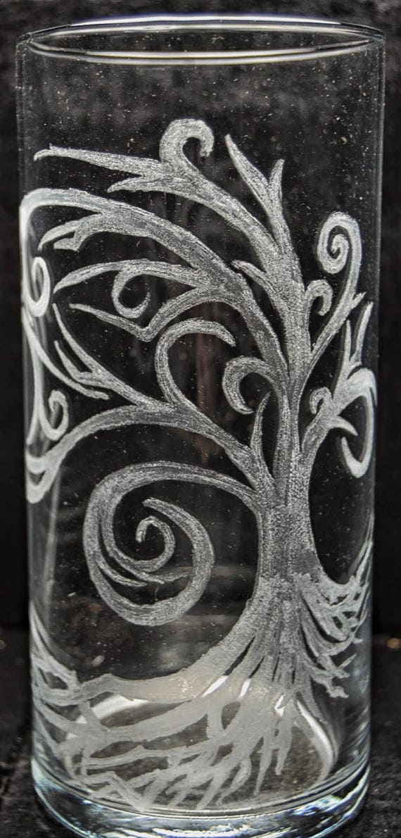 Willow Tree Circular Vase Custom Glass Etched Willow Tree Etsy