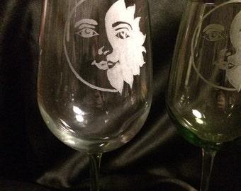 Yin-yang sun and moon wine glass - sun, moon, sun and moon, wine glass, colored wine glass, hand etched, gift, barware, glassware,