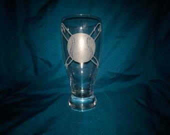 Softball, baseball Pilsner glass - softball, baseball, sports, pint glass, hand etched, beer glass, drink glass, etched glass, colored glass