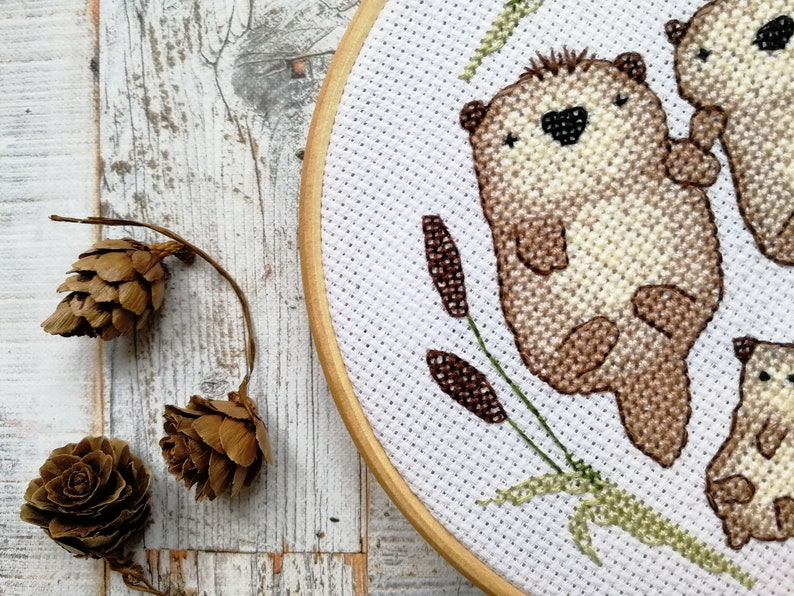 Cute otter cross stitch pattern otter embroidery modern image 0