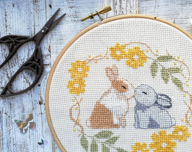 Rabbits embroidery pattern rabbits cross stitch wedding image 0