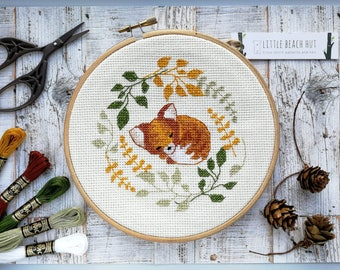 Fox needlework kit, sleepy fox, cute needlework, cross stitch kit, DIY kit, garden needlework, cross stitch pattern, fox gift, gifts for her