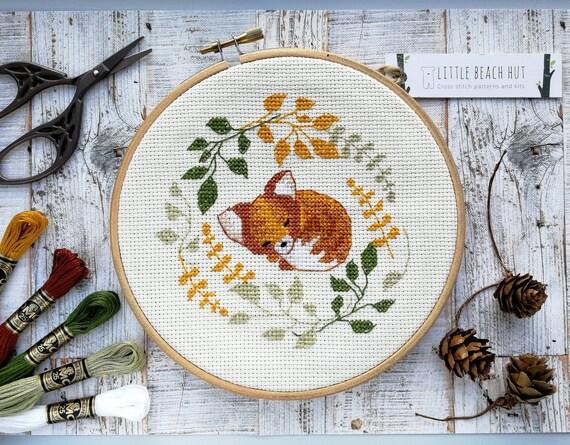 fox needlework kit sleepy fox cute needlework cross stitch etsy rh etsy com needlework casey lyrics needlework casey lyrics
