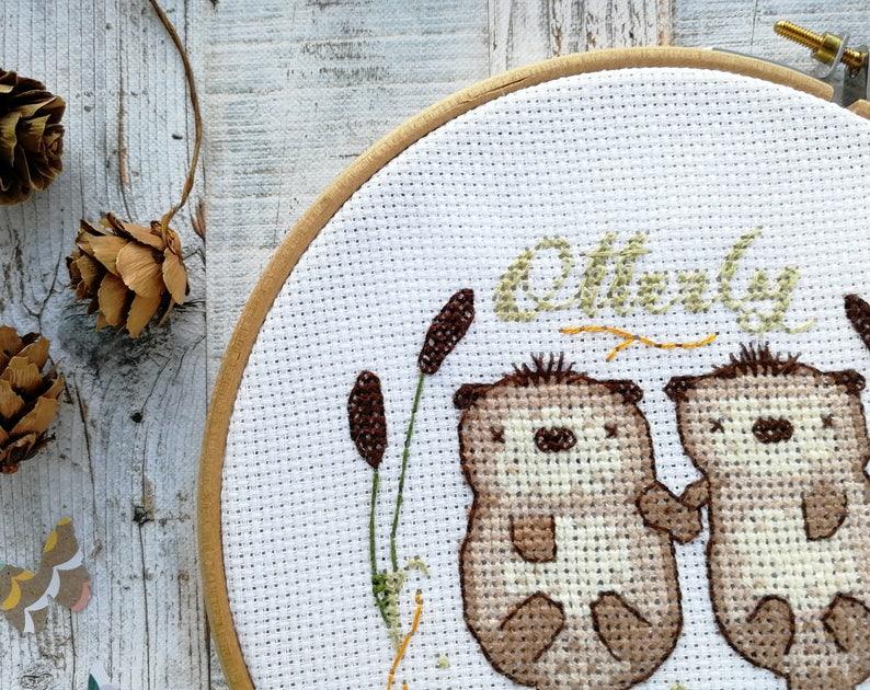 Otters cross stitch pattern needlework pattern otters image 0