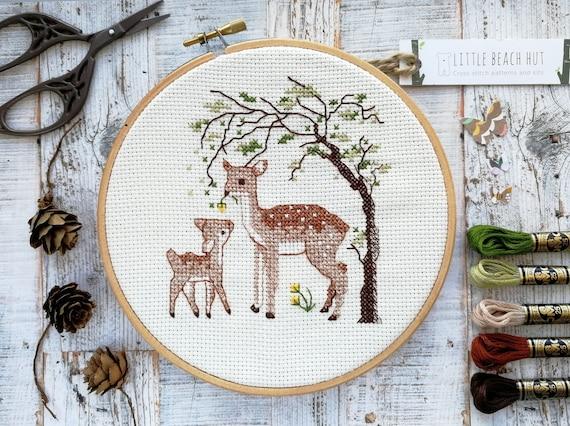 Cross Stitch Kit Deers DIY Modern Cross Stitch Set Hand Embroidery