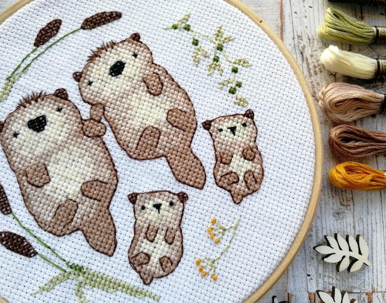 Otter cross stitch pattern family gifts cute cross stitch image 0