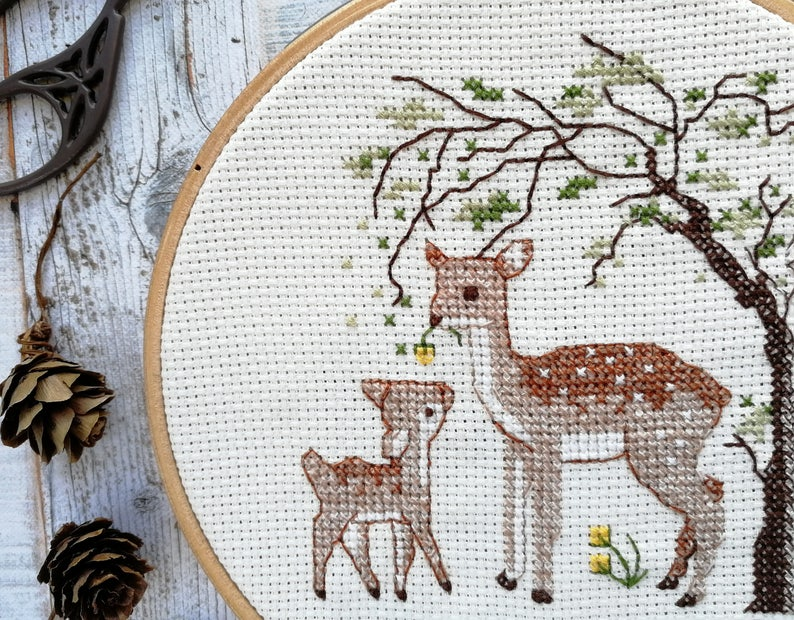 Deer and fawn  cross stitch pattern deer print wild fawn image 0