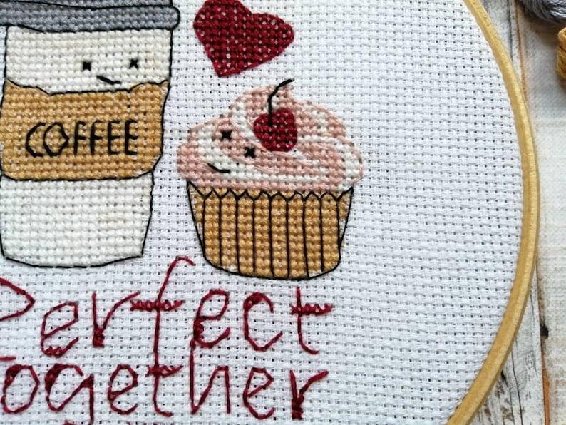 Love cross stitch pattern wedding embroidery coffee & cake image 0