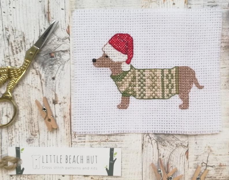 Dachshund cross stitch pattern  sausage dog cross stitch image 0