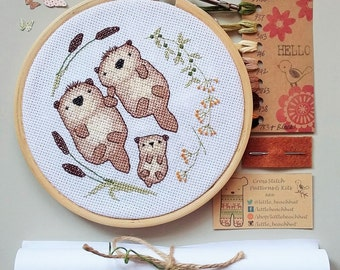 Cute otter family embroidery kit, home sweet home cross stitch otters, family tree needlepoint pattern, modern animal cross stitch