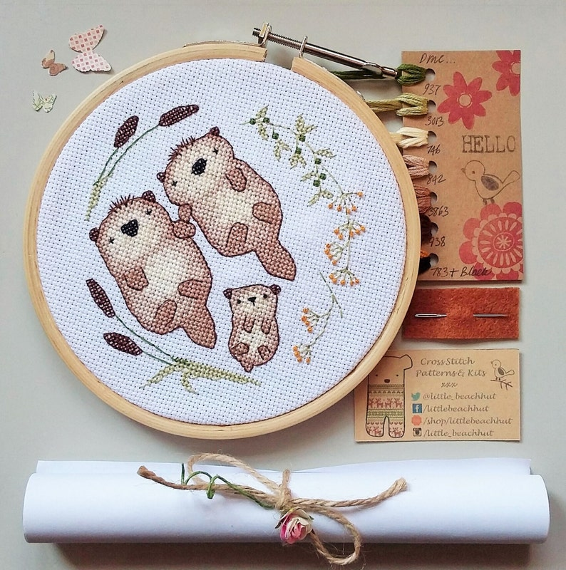 Cute otter family embroidery kit home sweet home cross stitch image 0