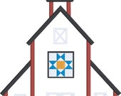 Primitive decor style barn appliqué design download for embroidery machine, barn quilt, rustic decor