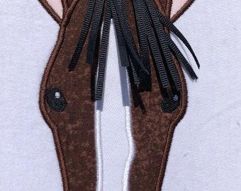 Orange Horse Head Partially Covered Orange and Brown Brown Horse Head Horse Head Hair Clip Applique Horse Head Grosgrain Ribbon