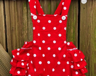 Vintage Style bubble Romper, poke-a-dot, size 1T,  new baby  retro gift, polkadot, girl summer overalls, jumper, short-alls, ruffle butt