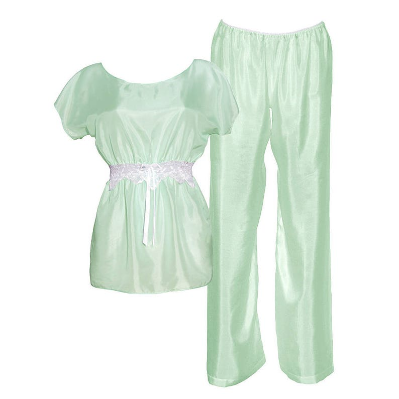 silk kimono /& long pants in mint Jasmine