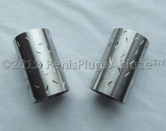 Stainless Steel Salt & Pepper Shakers Hand Done Etched Brushed Custom