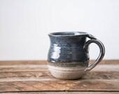 Coffee mug. Stoneware clay tea cup pottery mug thumb rest