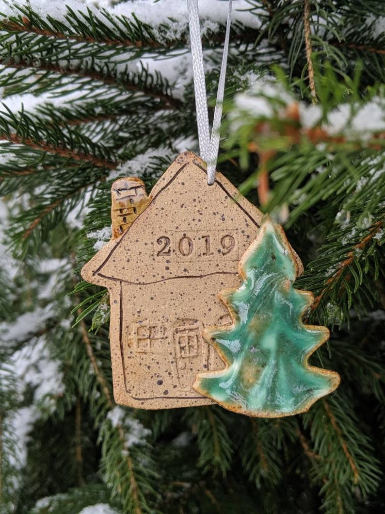 Holiday Christmas ornament dated 2019 House tree stoneware clay handmade stamped date