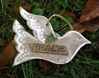 Christmas holiday Ornament: Peace Dove
