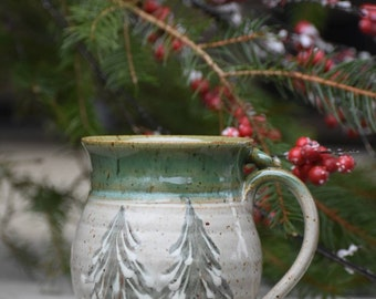 Winter Tree Coffee Mug Outdoor Pine Tree Adventure Wanderlust Snow Cup Tea Clay Stoneware Pottery Mug thumb rest