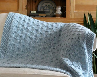 KNITTING PATTERN / Belleview Blanket / Throw / Afghan / Knit / Gift / Christmas / Wedding / Baby / Quick / Easy / PDF Instant Download