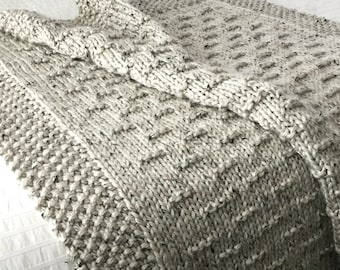 Blanket KNITTING PATTERN / Flint Hills / Throw / Afghan / Knit / Gift / Christmas / Wedding / Baby / Quick / Easy / PDF Instant Download