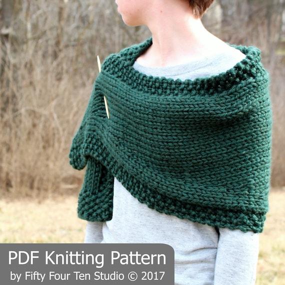 Knitting Pattern Shawl Wrap A Bit Of Good Luck Chunky Etsy