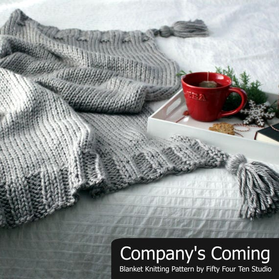 Throw Knitting Pattern Companys Coming Tassel Bed Etsy